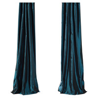Mediterranean Faux Silk Rod Pocket Curtain Panel