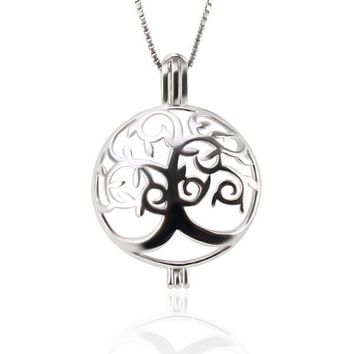 925 Sterling Silver Life Tree Pearl  Cage Pendant