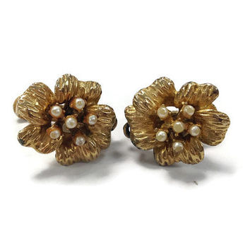 1950s Earrings / Vintage Signed Vendome Gold Tone Flower and Faux Pearl Clip Earrings