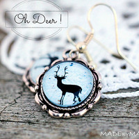 Deer silhouette Black & whitish Earrings Retro look Jewelery, Free Shipping from MADEbyMADA