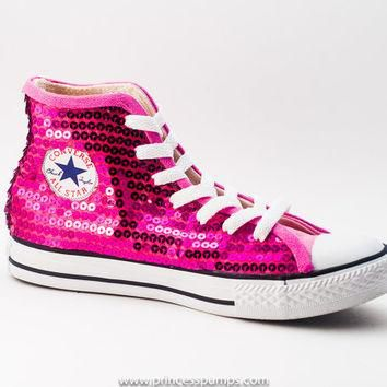Hot Fuchsia Pink Sequin Converse All Star Hi Top