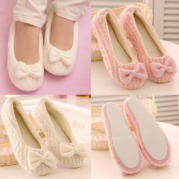 New Fashion Women Knitted Home Shoes Soft Sole Bowtie Crochet Indoor Shoes Slippers Dancing Yoga Shoes SW013|26201 = 1932147396