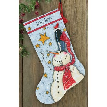 """Tall Hat Snowman Stocking (14 Count) Dimensions Counted Cross Stitch Kit 16"""" Long"""