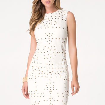 bebe Womens Embellished Midi Dress White
