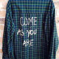 Unisex Plaid shirt bleached with Come As You Are