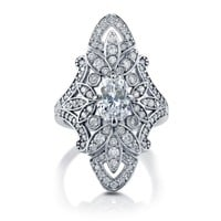 ELONGATED ART DECO RING WITH CUBIC ZIRCONIA IN STERLING SILVER