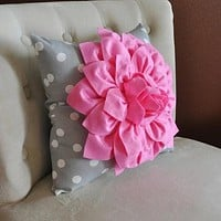 Pink Dahlia on Gray and White Polka Dot Pillow -Baby Nursery Pillow- Toss Pillow Decorative Pillow