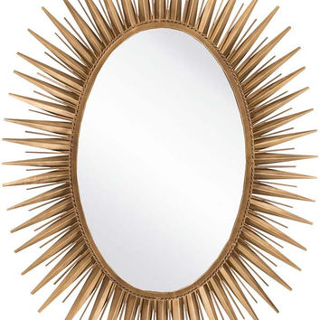 Oval Metal Wall Mirror Antique Gold - Home Decor | Surya