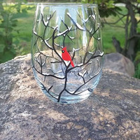 Cardinal snow branch hand painted stemless wine glass