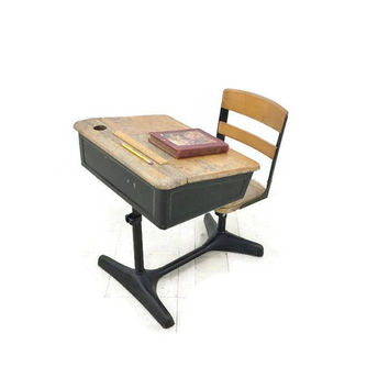Vintage School Desk Student Desk Swivel Chair Inkwell Holder Wood and Metal Adjustable Height