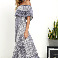 Coast Traveler Purple Print Off-the-Shoulder Maxi Dress