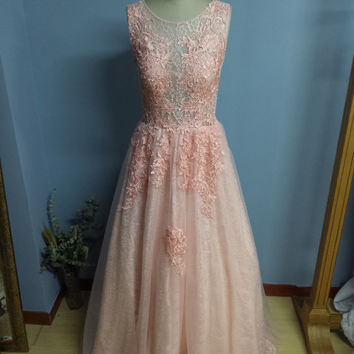 Real Samples Coral Long Floor Length Lace Evening Dress Prom Gown Wedding Dress Bridal Gown (O022)