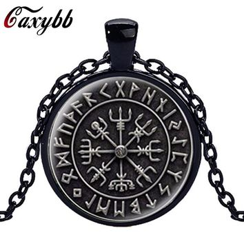 Caxybb 20171 unids Nordic Viking Cross in Rune Circle Pendant Jewelry Crystal Necklaces Cabochon Glass Dome Handmade Jewelry