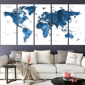 N14455 - Modern Large White and Navy Blue Wall Art World Map Map Push Pin Canvas Print - Ready to Hang