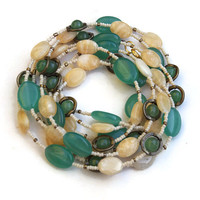 Teal and Cream Multi Strand Necklace, Extra Long Wrap Necklace, Natural Stone Jewelry, Jade and Agate, OOAK Handmade Unique ALFAdesigns