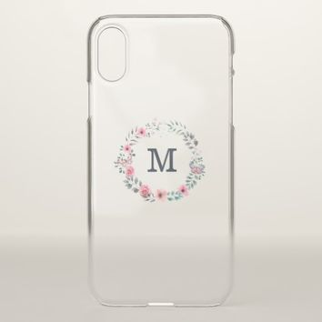 Monogram on Watercolor Flowers & Butterfly iPhone X Case
