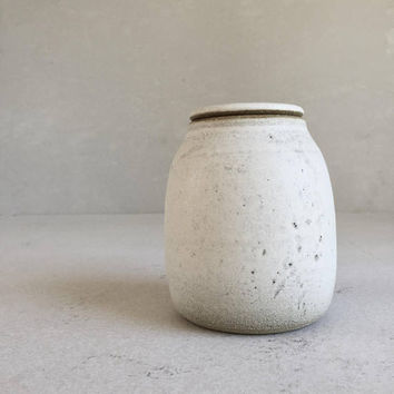 Patina WHITE LIDDED BOTTLE 28 oz, ceramic, pottery, handmade, jar, liddedjar, liddedbottle, ceramic lidded jar, container, white bottle