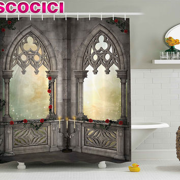 Gothic Decor Shower Curtain Vintage Ottoman Palace Balcony for Sultans with Red Rose Flowers Ivy Terrace Image Fabric Bathroom D
