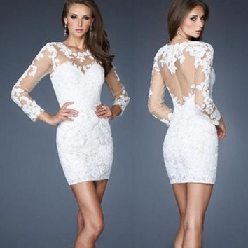 2016  Long Sleeve White Lace Cocktail Dresses Sheath Elegant Tulle robe de Cocktail Party Dresses vestido de festa curto coctel