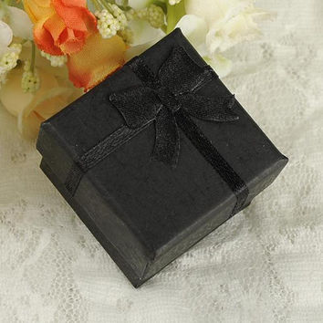 24pcss Black Square Jewelry Ring Gift Present Cardboard Case Box Display Package Holder SM6