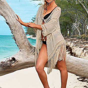 NATURAL Open Front Crochet Cover-Up from VENUS
