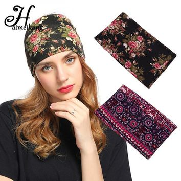 Retro Flower Wide Headband Elastic Hair Band for Women Ethnic Turban Headbands Stretchy Hairbands Bandanas Hair Accessories
