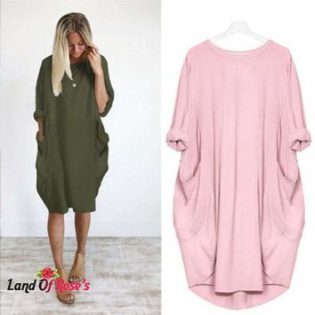 Long Sleeve Casual Loose Dress Maternity Clothes For Pregnant Women  Lady Dress Pregnancy Dresses
