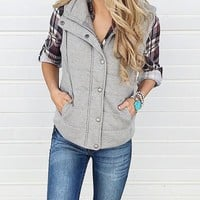New Grey Pockets Zipper Drawstring Band Collar Casual Padded Vest