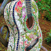 Mosaic Guitar Rock and Roll Shabby Chic Vintage by tomrass4