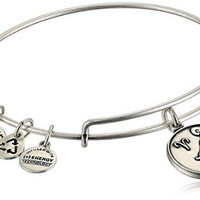 Alex and Ani Aries II Expandable Rafaelian Silver Finish Wire Bangle Bracelet, 7.25""
