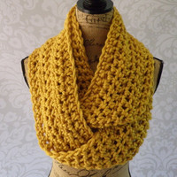Ready To Ship Infinity Scarf Crochet Knit Large Mustard Women's Accessories Eternity Fall Winter