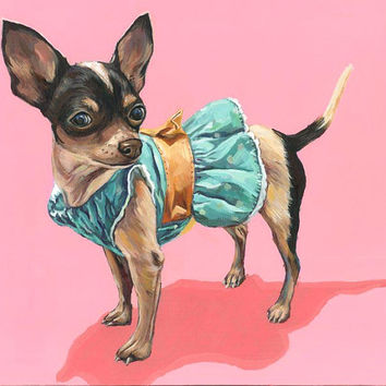 Dog Portrait, custom pet portrait, chihuahua painting, pop art, wall decor, home decor, gift, pet art, 12x12 dog painting on wooden canvas