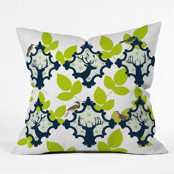 Natt Deer And Leaves Throw Pillow