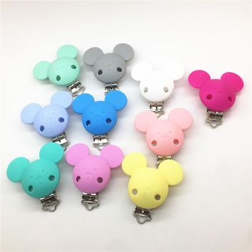 Chenkai 10pcs BPA Free Silicone Mickey Dummy Teether Pacifier Chain Clips DIY Baby Mouse Animal Soother Nursing Toy Accessories