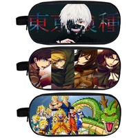 Anime Tokyo Ghoul Attack on Titan Dragon Ball Pencil Holder Boys School Case Kids Cases Student Bag Material Escolar Lapices