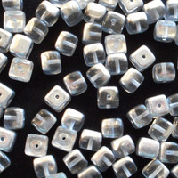 Lot of 25 Platinum Silver Crystal Cube Beads, 5 x 7mm Czech glass beads, C4325