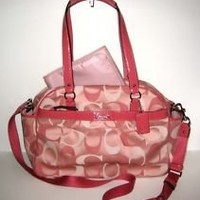 Coach Addison 3 Color Signature Baby Diaper Bag Purse F18376 Pink New With Tags