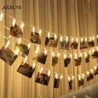 JULELYS AA Battery Festoon For Photo Clip LED String Lights Decoration For Wedding Holiday Christmas Garland Room Chain Light