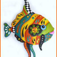 Tropical Fish Wall Hanging - Caribbean Decor - Hand Painted Metal Art - 28""