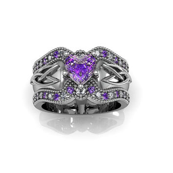 Celtic Ring:  Amethyst Heart Sterling Silver Celtic Knot  Love and Friendship Engagement and Promise Solitaire Ring Trio Set