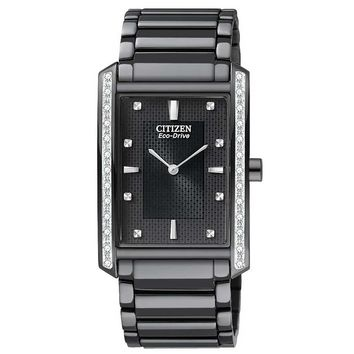 Citizen BL6067-54E Men's Eco-Drive Palidoro Black Ion Plated Stainless Steel Black Dial Diamond Watch