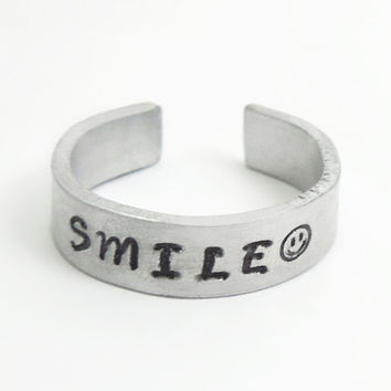 SMILE ring smiley face ring - Handstamped aluminum ring - Adjustable silver-tone ring - Jewelry for men Jewelry for women