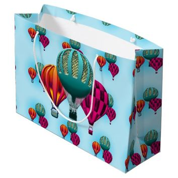 Colorful Hot Air Balloons Large Gift Bag