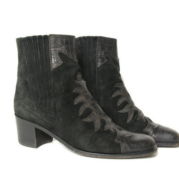90s does 70s Mod Boots - Black Suede Boots - Chelsea Boots - Made In Italy - Rock N Roll - Glam Rock - Psych - Western - Ankle Boots