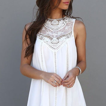 Chiffon Mosaic Lace Sleeveless One Piece Dress [4915010180]