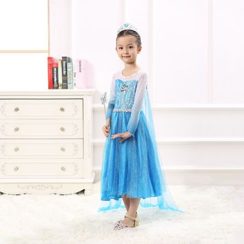 Princess Costume - Icy Blue Gown Skirt Elsa Dress with Gauze Veil - 👗💘👑🎃👠