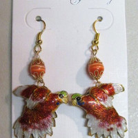 Parrot Earrings Cloisonne, Double Sided Puffed, Red, Handcrafted