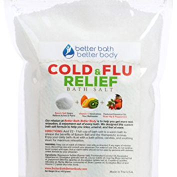 Cold & Flu Epsom Salt Bath Soak With Rose Hip & Peppermint Essential Oils & Vitamin C - 100% All Natural No Perfumes No Dyes - Natural Relief From Common Cold & Flu Symptoms (1 Pound)