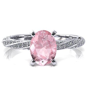 Elysia Oval Pink Sapphire 4 Prong 3/4 Eternity Diamond Accent Ring