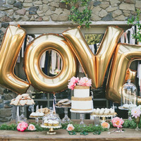 "4pcs/lot 40"" Large Gold /Silver LOVE Aluminum Foil Wedding Festival Valentine Balloons"